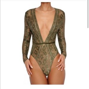 Oh Polly Lace Be Honest Plunge Bodysuit